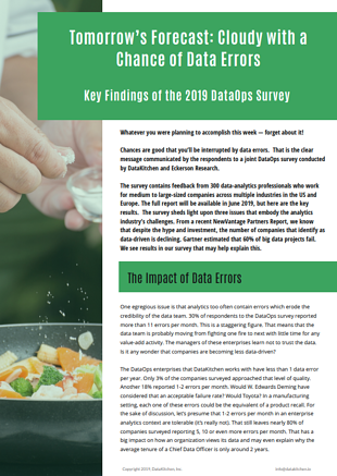 Key Findings of the 2019 DataOps Survey - Tomorrow's Forecast: Cloudy with a Chance of Data Errors